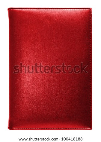Red leather note book isolated on white background