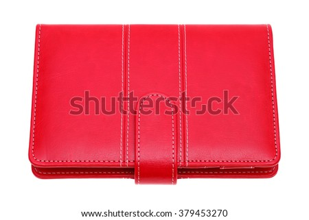 red leather notebook isolated on a white background - stock photo
