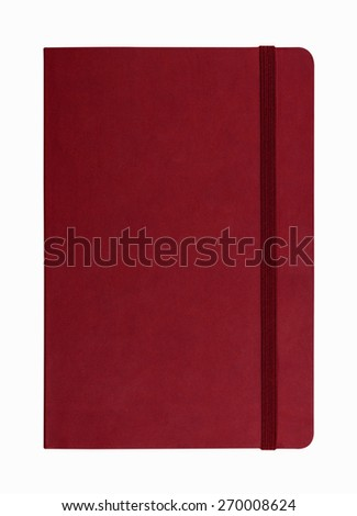 red leather notebook isolated on white background