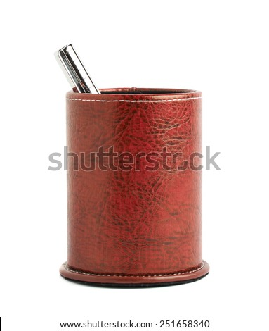 Red leather pen holder cylinder box isolated over the white background - stock photo