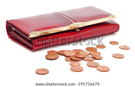 Red leather purse with Euro coins isolated on white background - stock photo