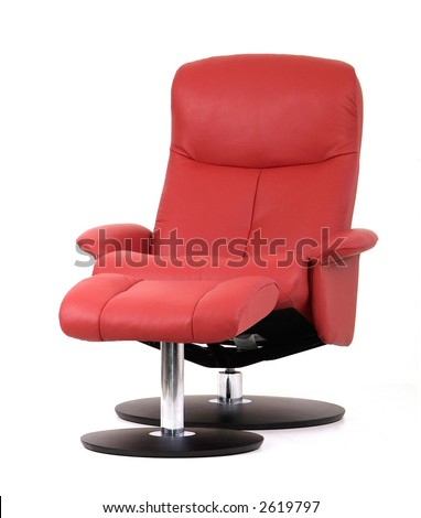 Red leather recliner chair with matching footstool. Perspective view isolated on white.  sc 1 st  Shutterstock & Recliner Chair Isolated Stock Images Royalty-Free Images ... islam-shia.org