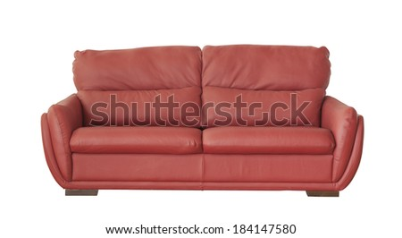 Red leather sofa (couch) isolated on white