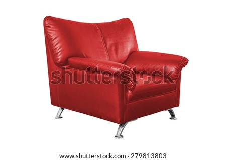 Red leather sofa isolated on white background, work with path.