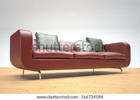 Red leather sofa on wooden floor and white background - stock photo