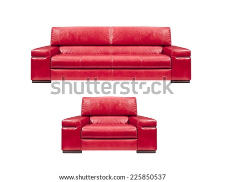 red leather sofa with armchair isolated