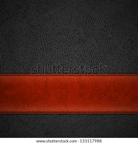 Red leather stripe on black leather background with copyspace - raster version - stock photo