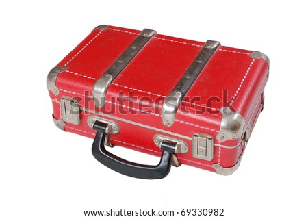 Red leather vintage old suitcase isolated on white