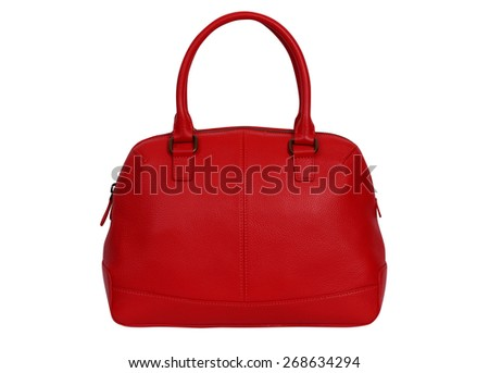 Red leather women handbag isolated on white background.