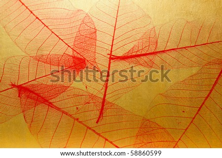 red leaves on golden concrete texture