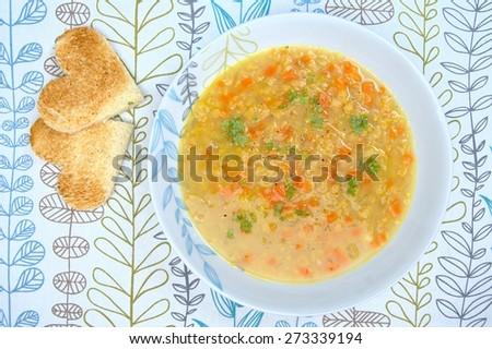red lentil soup - stock photo