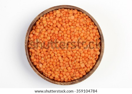 red lentils isolated on white - stock photo