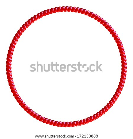 Red Licorice circle frame isolated on white - stock photo