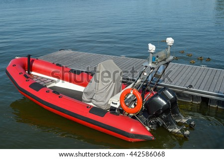 Red Life boat in Chambly, Canada - stock photo