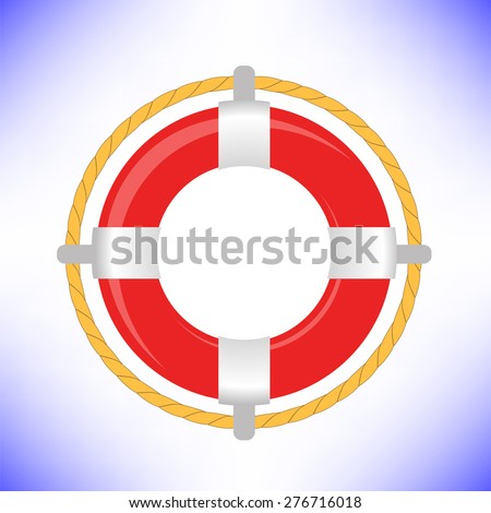 Red Life Buoy Isolated on Blue Background - stock photo