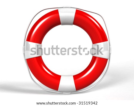 red life buoy with rope isolated - 3d render - stock photo