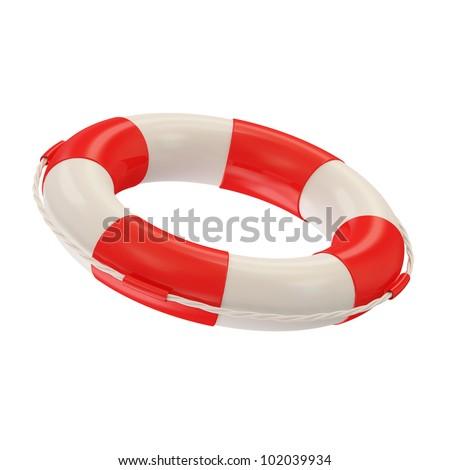 Red Lifebelt isolated on white background - stock photo