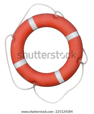 Red lifebuoy isolated on white - stock photo