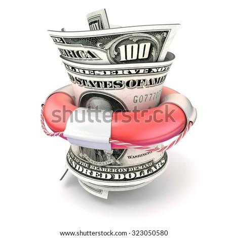Red lifebuoy saving money, roll dollars. 3D render illustration isolated on white background - stock photo