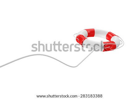 Red Lifebuoy with Rope isolated on white background - stock photo