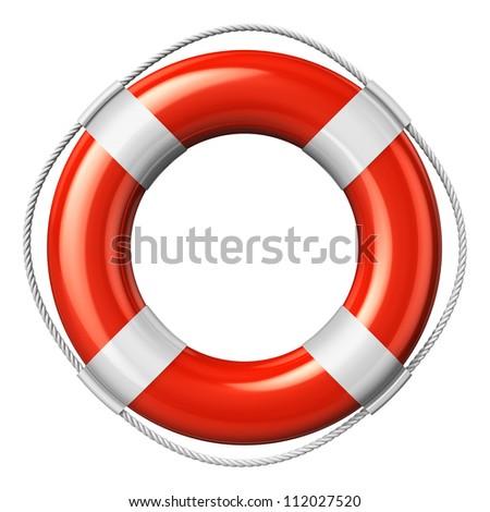 Red lifesaver belt isolated on white background - stock photo