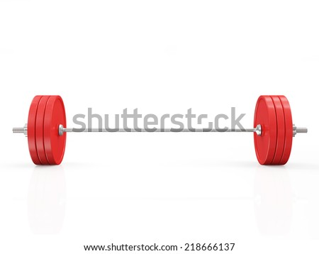 Red Lifting Weight Isolated on White Background