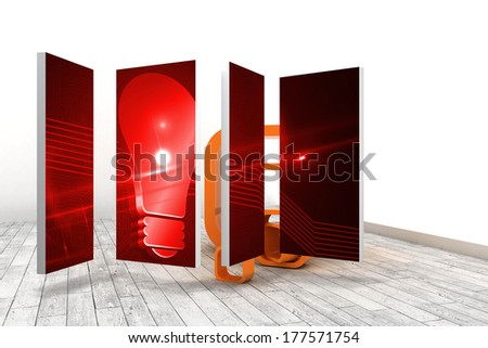 Red light bulb graphic on abstract screen against orange structures in a white room