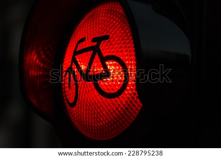 Red light for bicycle lane on traffic light - stock photo