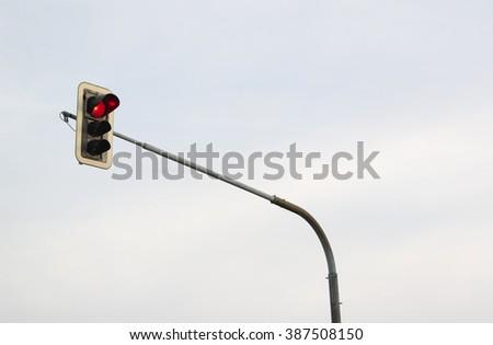 Red light on the traffic light  - stock photo