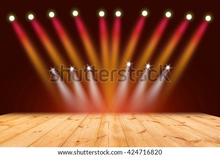 Red light on wood stage background - stock photo
