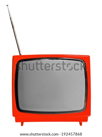 Red light vintage analog television isolated over white background, clipping path. - stock photo
