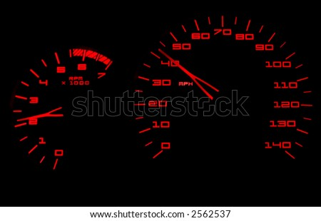 Red lighted tachometer and speedometer against a black background - stock photo