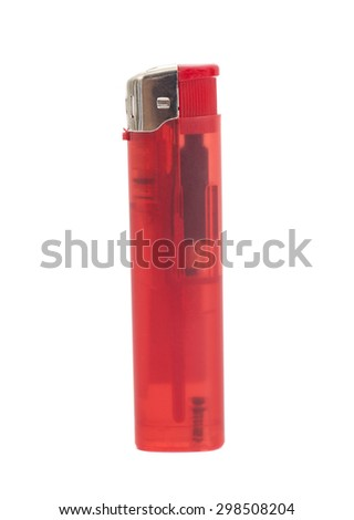 Red lighter on a white background - stock photo