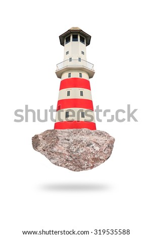 Red lighthouse isolated on white background. - stock photo