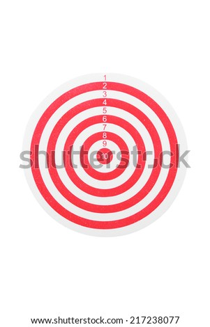 red line dart board isolated on white background with clipping path
