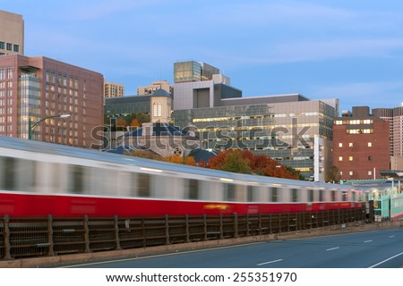 Red line subway train in motion blur in Boston - stock photo