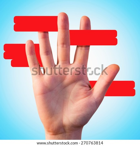 Red lines around hand for your text - stock photo