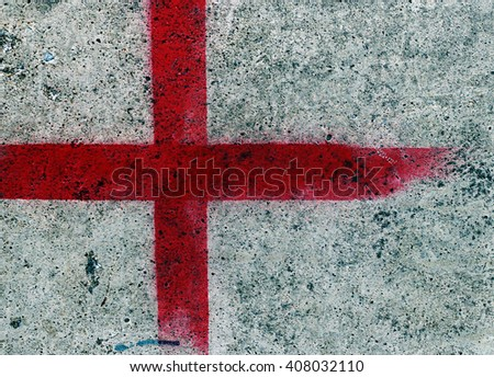 Red lines on the cement surface. - stock photo