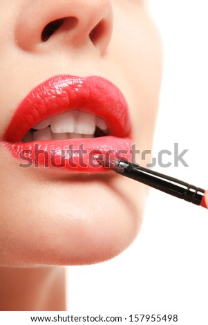 Red lips - stock photo