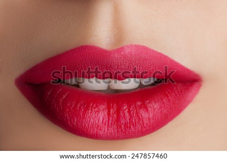 Red lips closeup - stock photo