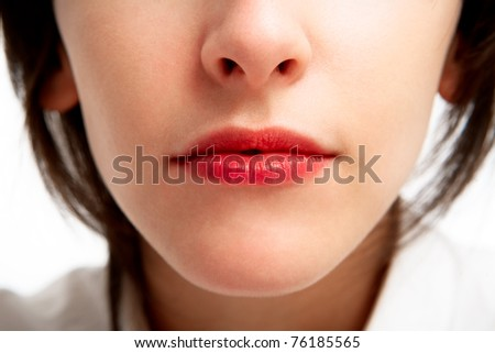 red lips - glamour close-up of a girl's face - stock photo
