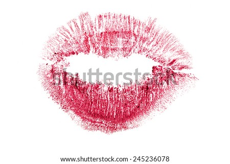 red lips imprint isolated on white background - stock photo
