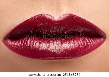 Red lips .Lips close up. Fashion lipstick. - stock photo