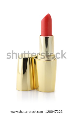 Red lipstick in gold container isolated on white background.