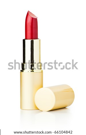 red lipstick isolated with clipping path on white background - stock photo