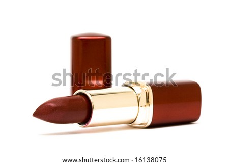red lipstick on white background - stock photo
