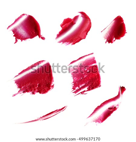 red lipstick samples on a white background