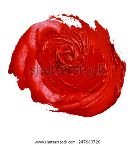 red lipstick smudged look like a rose shape - stock photo