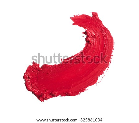 red lipstick stroke - stock photo
