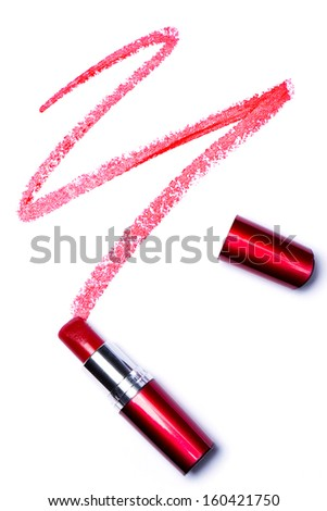 Red lipstick with trace over white background - stock photo